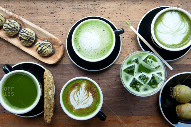 Matcha beverages and baked goods