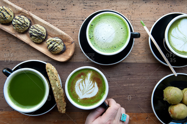An assortment of matcha beverages and baked goods