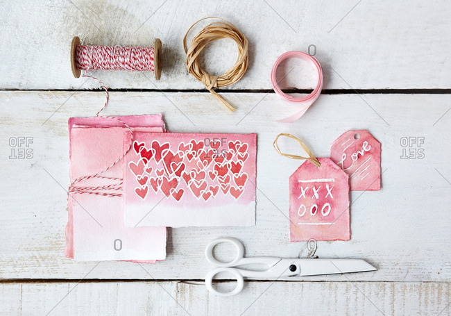 Handmade Valentine's Day cards and tags