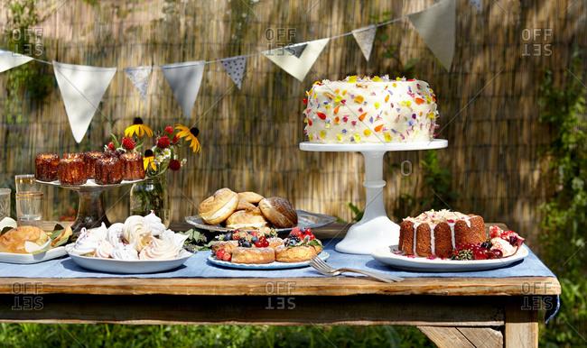 Dessert table at a garden party