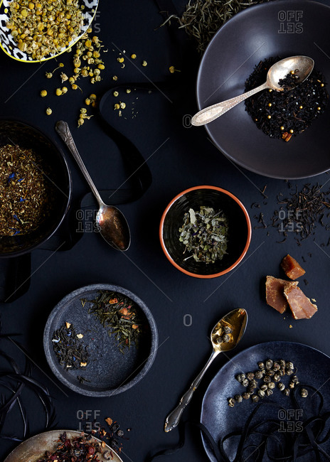 Selection of dried teas and herbs