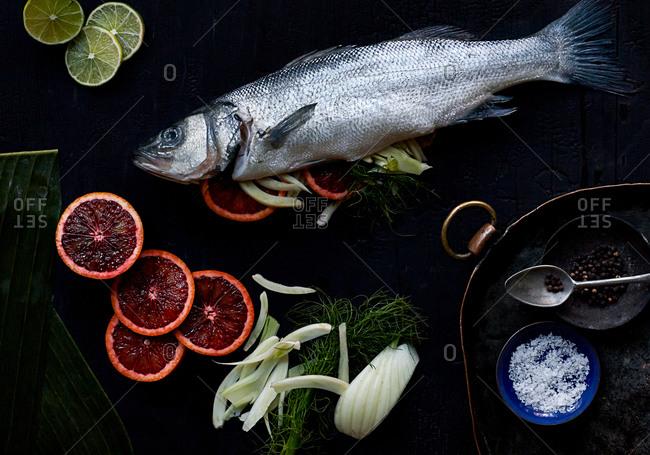 Branzino fish stuffed with blood orange and fennel