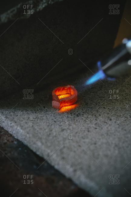 Working with Bunsen burner on Mokume Gane style wedding ring