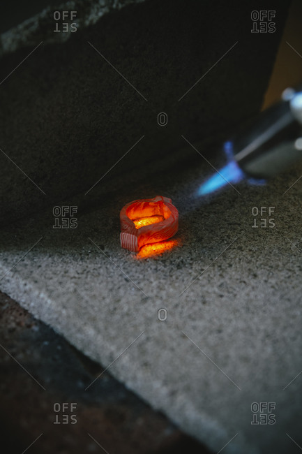 Working with Bunsen burner on Mokume Gane style wedding ring