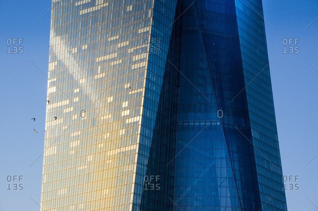 Frankfurt, Germany - February 7, 2015: Close up of European Central Bank headquarters during sunset
