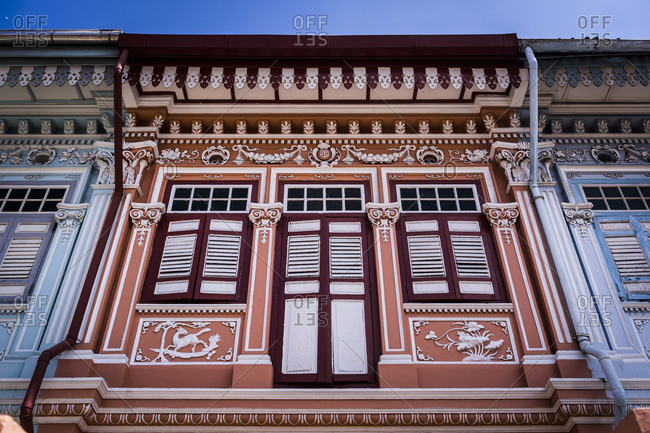 Singapore - February 17, 2015: Details of old shop houses in Singapore