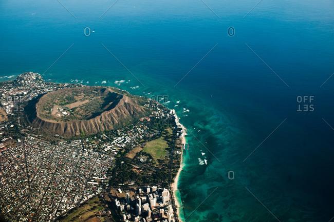 Aerial view of Honolulu and the Diamond Head, Oahu Island, Hawaii