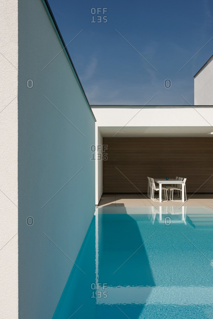 Modern white home with outdoor pool