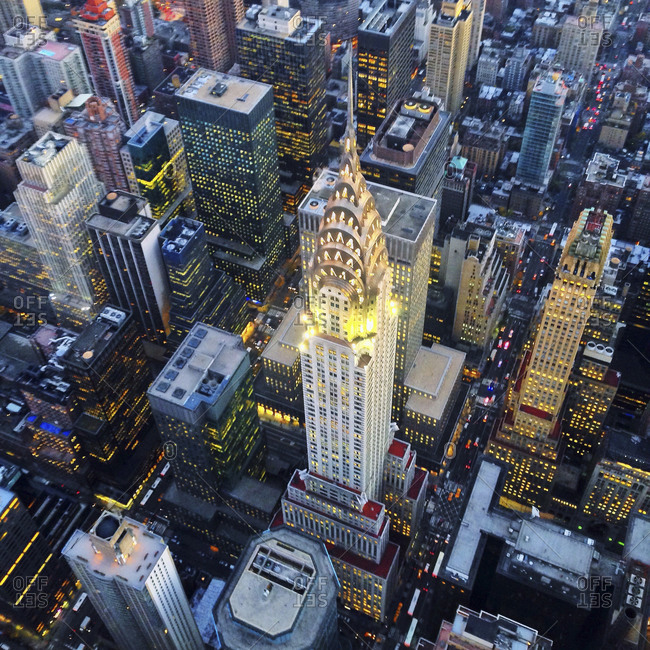 November 13, 2013: The Chrysler Building lit up in the evening, New York City