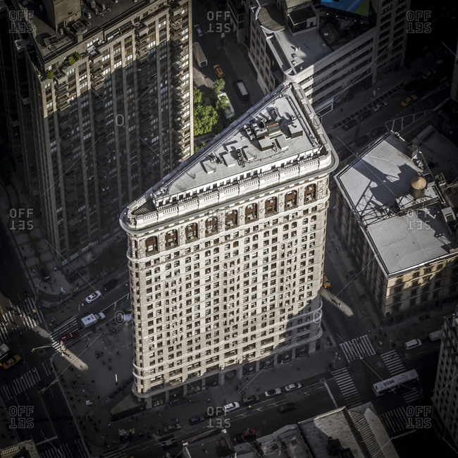 May 13, 2014: Aerial view of the Flatiron Building in New York City