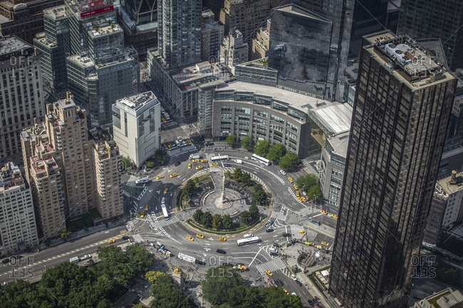 Aerial view of Columbus Circle in New York City