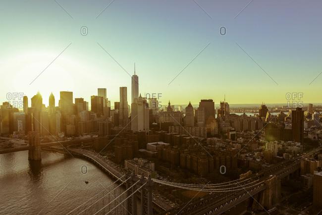 Lower Manhattan at sunset in New York City