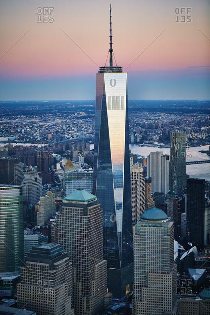 October 12, 2014: One World Trade Center at sunset, New York City