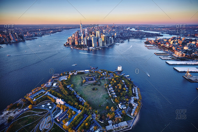 Aerial view of Lower Manhattan and Governors Island in New York City