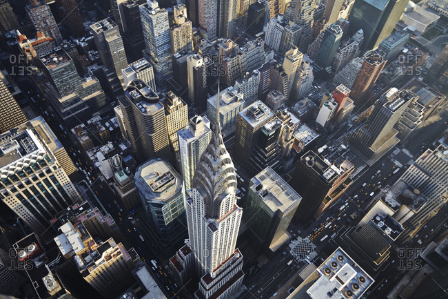 August 8, 2010: Aerial view of the Chrysler Building in Midtown Manhattan, New York City