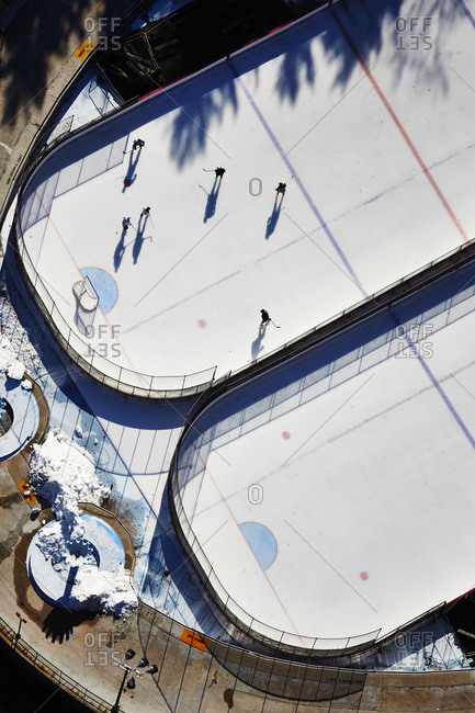 Aerial view of Lesker Rink in Central Park, New York City