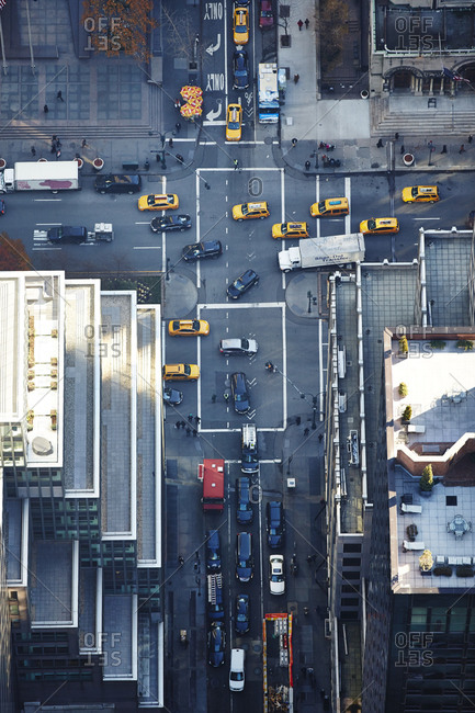 December 4, 2014: Aerial view of traffic in Manhattan, New York City