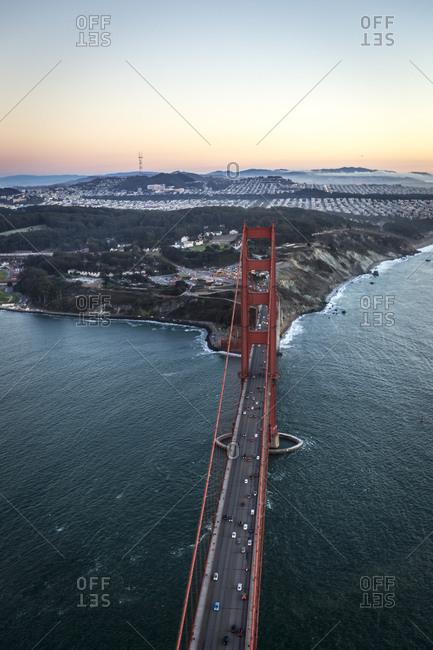 The Golden Gate Bridge at dusk, San Francisco