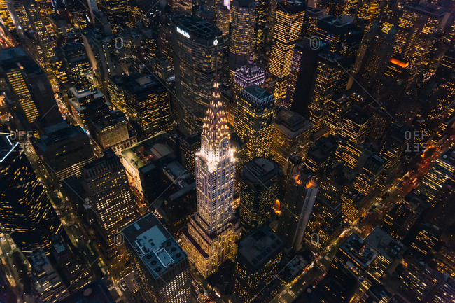 October 2, 2014: Chrysler building at night in New York City, USA