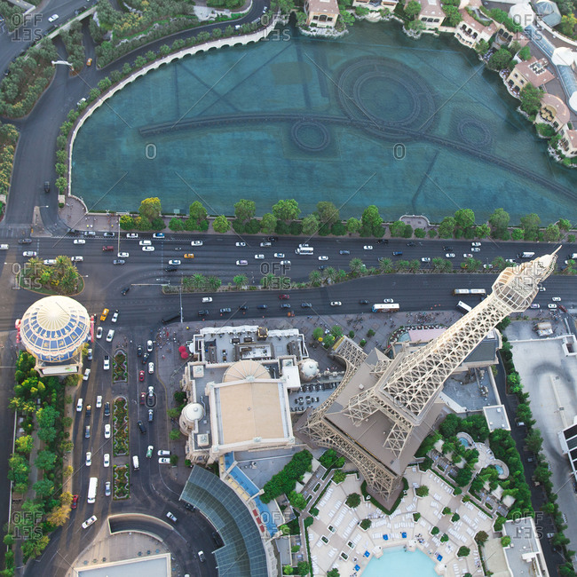 August 29, 2014: Aerial view of the Paris Hotel in Paradise, Nevada, USA