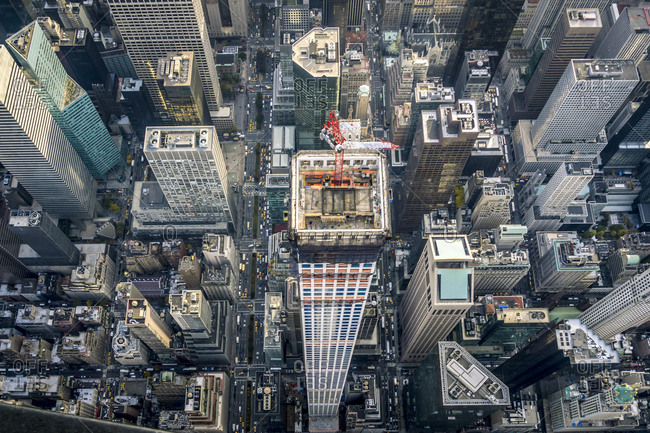 Aerial view of the 432 Park Avenue in New York City, USA