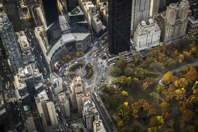 Aerial view of the Columbus Circle in New York City, USA
