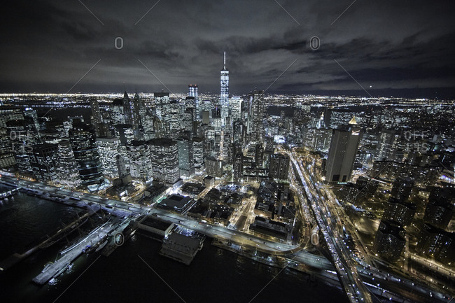 The one world trade center at night in New York City, USA