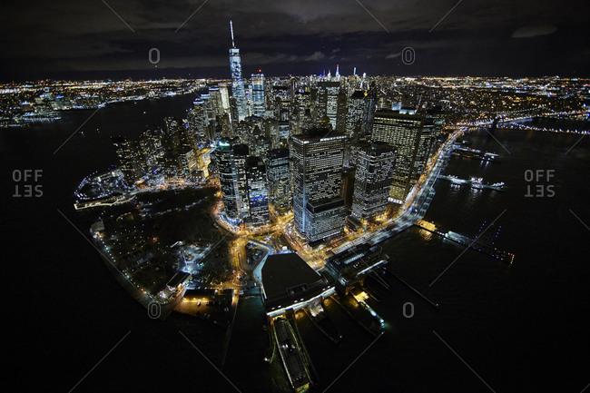 Lower Manhattan at night in New York City, USA
