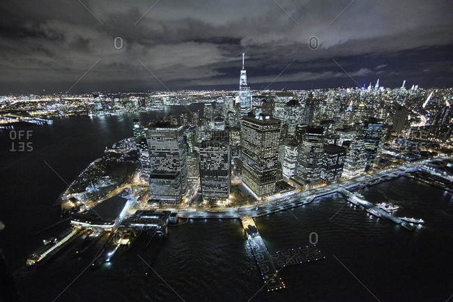The tip of Manhattan at night in New York City, USA