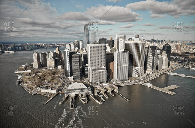 Cityscape of Lower Manhattan in New York City, USA