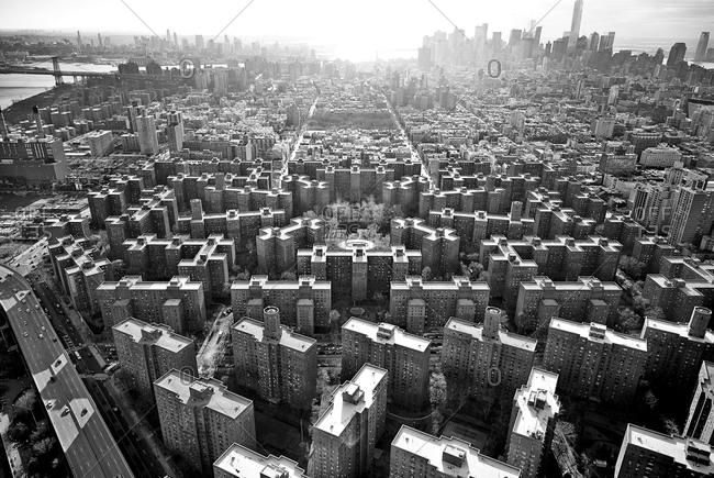 Aerial view of the Stuyvesant Town-Peter Cooper Village in NYC, USA