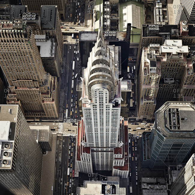 December 13, 2014: Aerial view of the Chrysler Building in Manhattan, New York City, USA