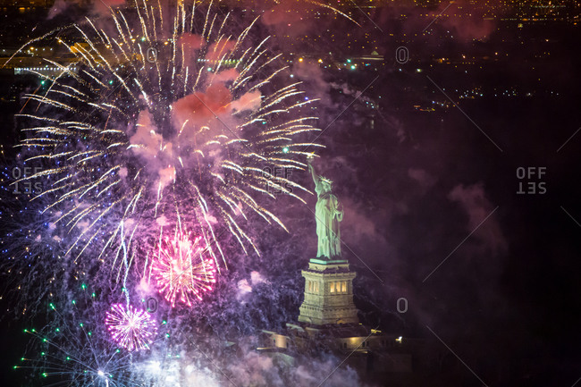 Fireworks at the Statue of Liberty in New York City, USA
