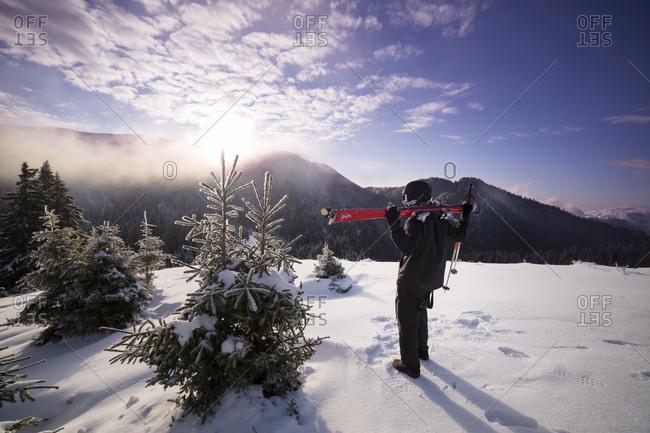 Man holding skis gazing at winter wilderness