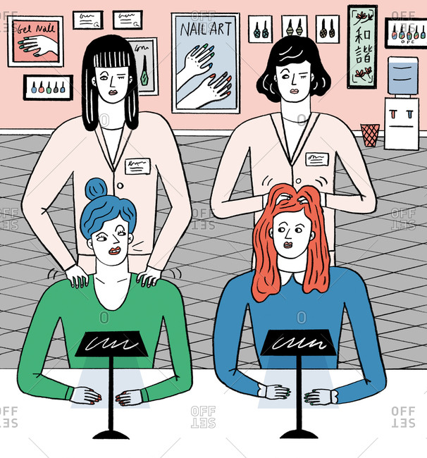 An illustration of masseuses giving two women massages