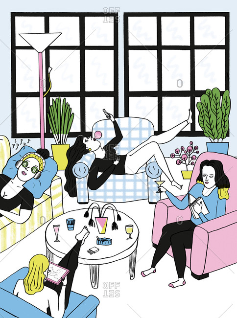 An illustration of a group of women lounging about