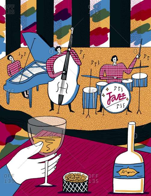 An illustration of a jazz band playing at a club