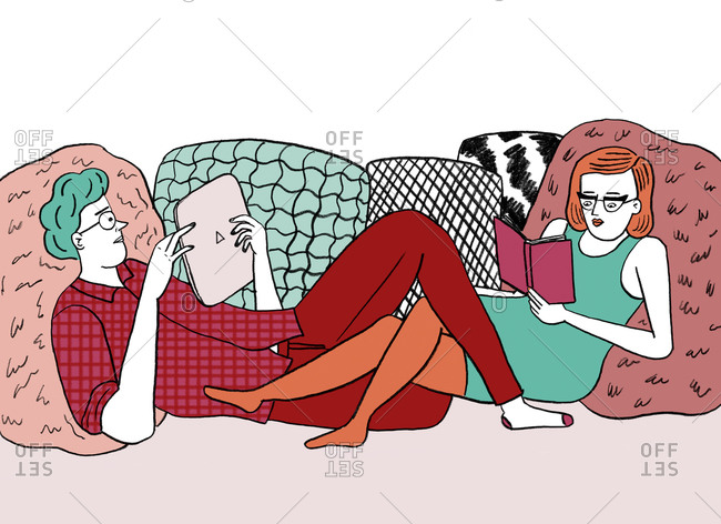 An illustration of a couple reading together while lounging on pillows