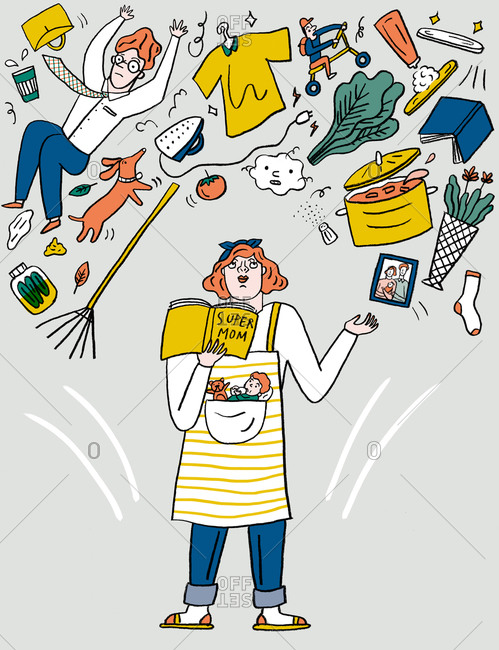 An illustration of a woman juggling her responsibilities