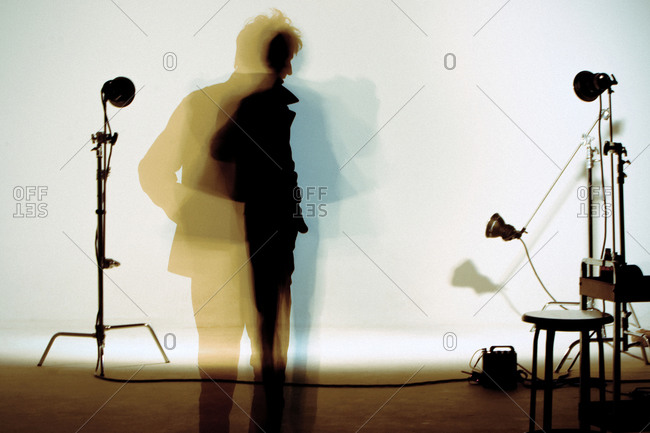 Silhouette of man in photography studio