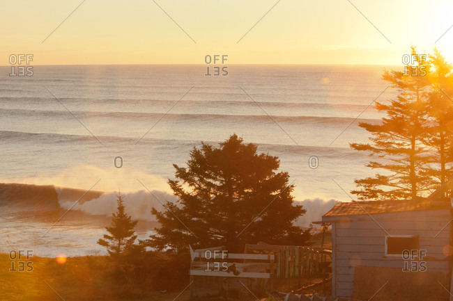 Waves cresting on Nova Scotia coast