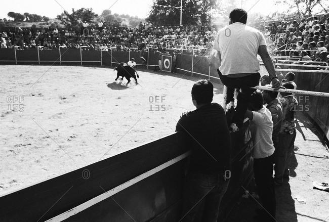 Festival De Sant Miguel, Spain - July 10, 2012: Spectators at bull fight in Spain