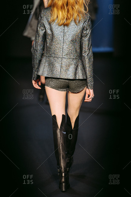 Paris, France - March 5, 2013: Rear view of model wearing silver glitter jacket at the Zadig and Voltaire fashion show