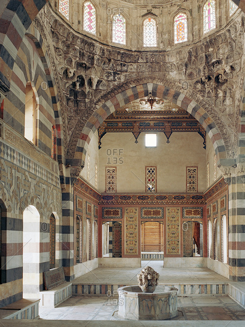 Interior of the Azm Palace in Hama, Syria