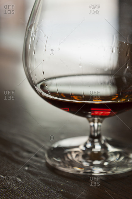 Close up of brandy in a snifter glass