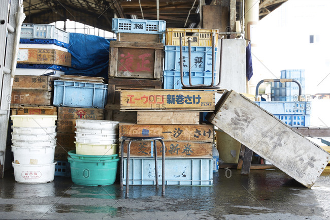 July 16, 2014: A warehouse filled with boxes and plastic containers