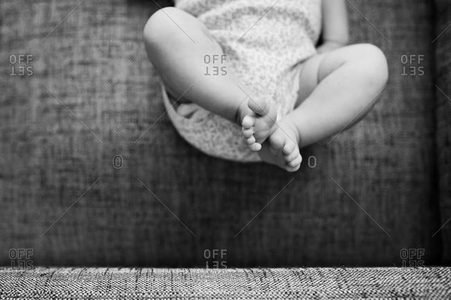 A newborn baby's feet