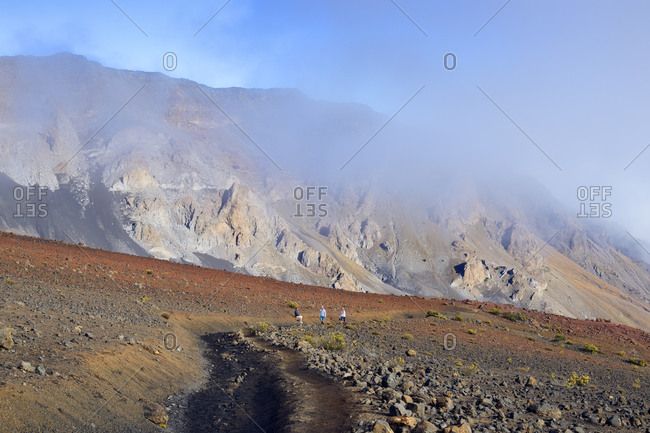 Hiking trail in the volcanic crater, Maui