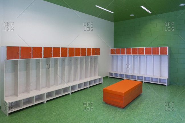 Empty racks in a kindergarten in a newly built kindergarten