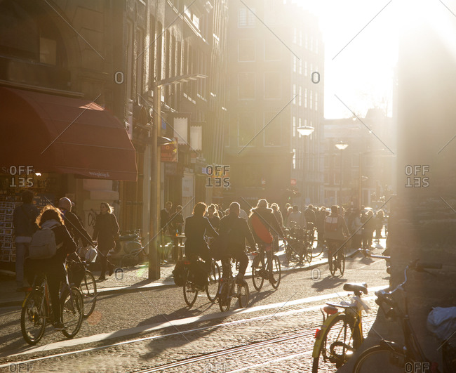 Amsterdam, The Netherlands - March 12, 2015: Amsterdam, central area, rush hour.